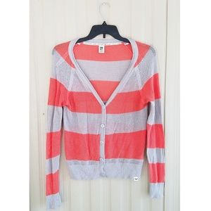 Roxy Button Front Sweater Cardigan Crochet Coral
